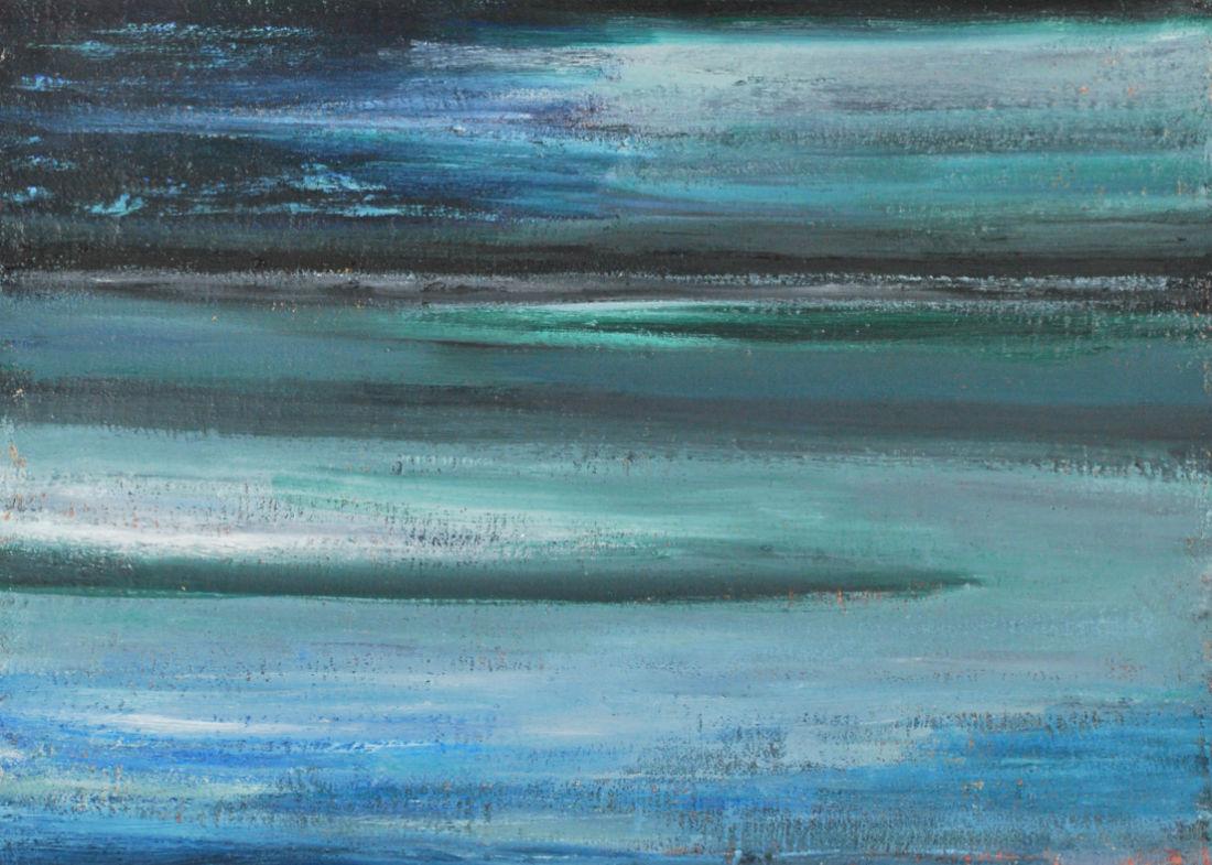 Abendliches Meer, 50x70cm, Mischtechnik auf Leinwand, 2009