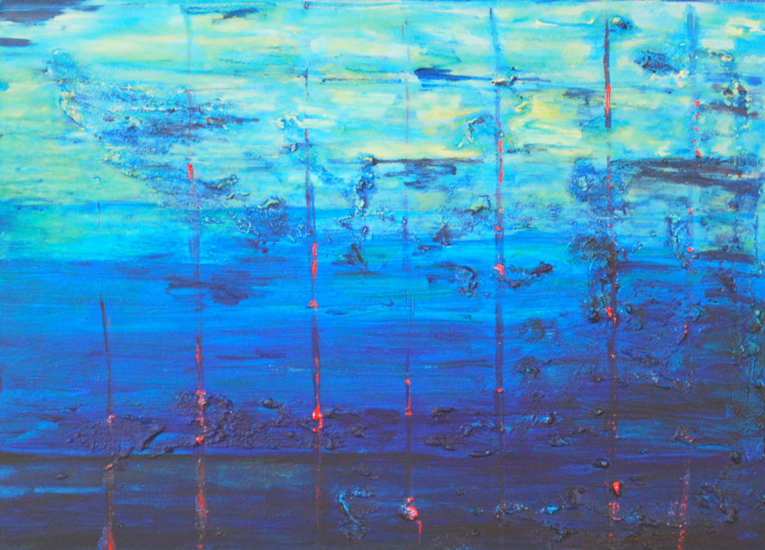 Aufsteigen der Nachtgeister in der Morgendämmerung, 50x70 cm, 2009, Mischtechnik auf Leinwand