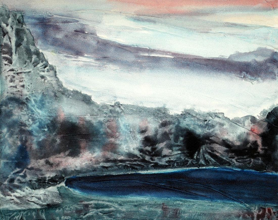 Bergsee, 29,5 x 40 cm, Mischtechnik auf Papier, 2014