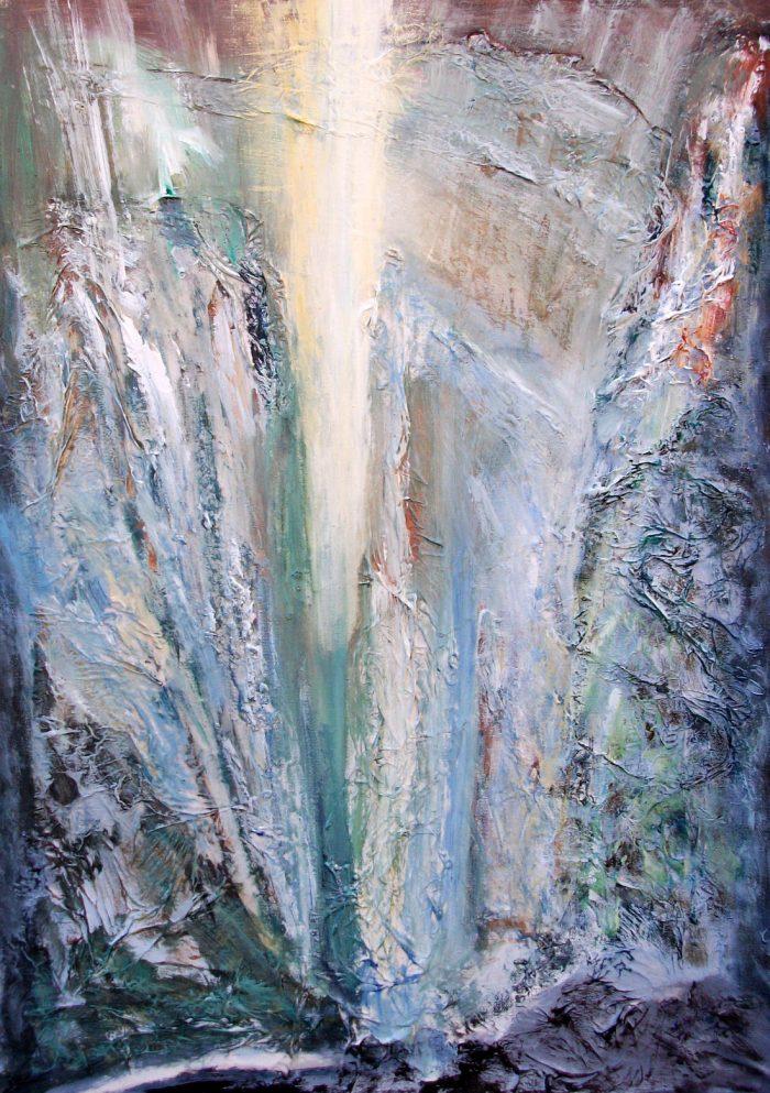 In der Klamm, 70x50cm, Mischtechnik auf Leinwand, 2011