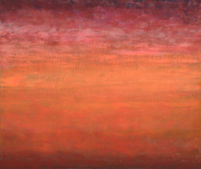 Orange zu Rot, 100x120 cm, Mischtechnik auf Leinwand, 2010