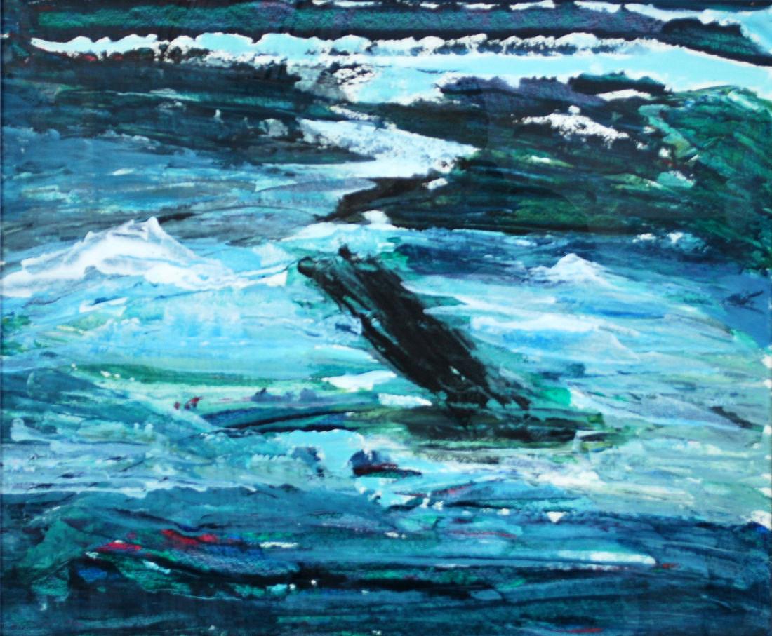 Untiefe, 50x60 cm, Acryl auf Papier, 2010