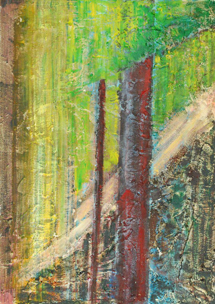 Waldstück, 70x50 cm, Mischtechnik auf Leinwand, 2009