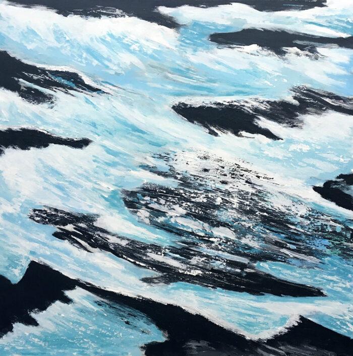 Felsenwasser 80x80cm Acryl auf Leinwand 2020