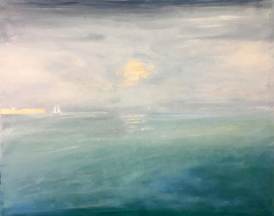 Eine Yacht nähert sich der Küste, 80x100cm, Öl auf Leinwand, 2021